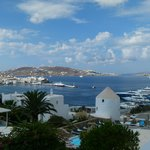 view of Mykonos town from the lobby