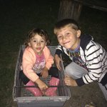 The older kids had great fun pulling our 2 year old around in the empty log crate