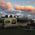 A beautiful sunset over our RV camped beside Hegben Lake.