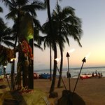 Sunset at Waikiki Beach - Duke's statue