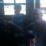 My grandsons at the throttle of old 382