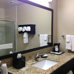 Clean bathrooms with ample room and plenty of counter space