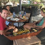 Metre long satay lunch at the hotel bar!
