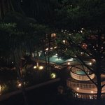 Swimming pool at night from our veranda