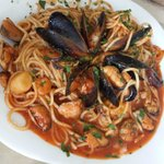 spaghetti with seafood at the hotel restaurant