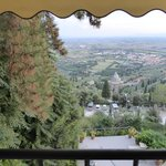 View from room overlooking garden and Val di Chiana.