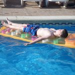 My son in one of the pools. The areas around both pools were spotlessly clean