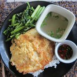 Lunch - Thai omelette with fried kangkung (water spinach) & broth