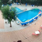 pool area from mates balcony - we had a back few which was lovley!