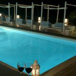 Pool and sunbeds in the evening