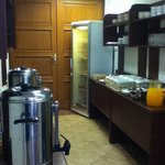 Food service area - frjdge, cereals, cold drinks