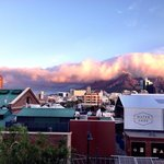 View from our window - the cloud descends over Table Mountain.