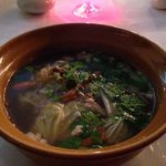Clear glass noodle soup from the restaurant
