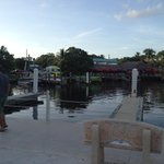 Dove Creek Lodge dock for kayaks and pedal boats. Also some bars and restaurants next door in th