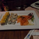 The Sushi was amazing at the restaurant.