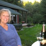 Enjoying champagne in the evening on our little deck.