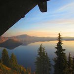 view of crater lake from third floor room facing north