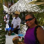 Beside the pool on a special day with fresh coconut & Pina Colada