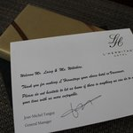 complimentary welcome chocolates