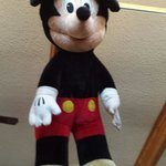 "Giant "" Mickey"" hanging from the ceiling."