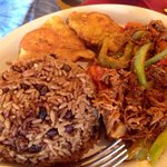 Ropa Vieja with congri rice and tostones