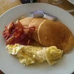 Pancakes and bacon off limited menu (scrambled eggs extra $2)