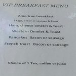 Menu for people with breakfast vouchers
