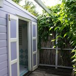 The doors that open from the bathroom to the verandah, this allows you to enter the bathroom str