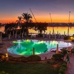 Pool and Nile at sunset