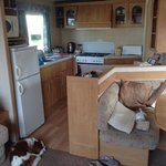 kitchen and dining area in our privately rented caravan