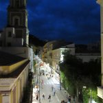 Looking to the left from our balcony......every night people were walking on the street enjoying