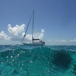A view of the sailboat from a swimmers vantage
