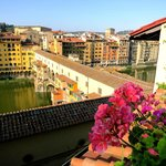Morning view of Ponte Vecchio from rooftop terrace
