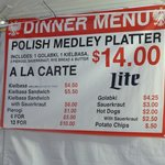 Dinner Menu at St Hedwig Polish Festival 2014