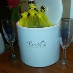 Complimentary bottle of champagne for the Bride & Groom along with keychain favors for our weddi