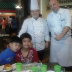 my sons with the very accommodating chefs