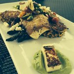 MSC caught pan seared wild Alaskan Halibut! With zucchini fritters and grilled asparagus. Except