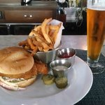 Walleye sandwich and Dortmunder Gold beer
