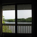 view from the dining room of the cabin