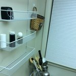 More wire shelving in kitchen.  Note the burnt utensils.  Could post more, but you get the idea.
