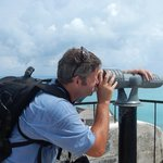 Me using telescope on top of Fort St. Catherine
