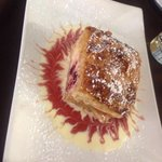 Cherry cheese strudel..warmed...and beautifully plated