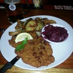 Wienershitzel, home fries and red cabbage