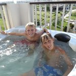 The Jacuzzi on the roof of our suite, overlooking gardens and beach