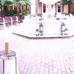 Hotel courtyard, set up for a wedding