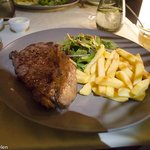 Entrecote with chips and salad