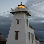 North Rustico Harbor Lighthouse just steps from the Blue Mussel Cafe