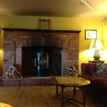 Seating area with fireplace in restaurant