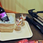 Part of the romance add-on (bottle of wine, glasses, and chocolates).
