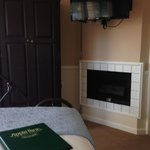Fireplace in motel room